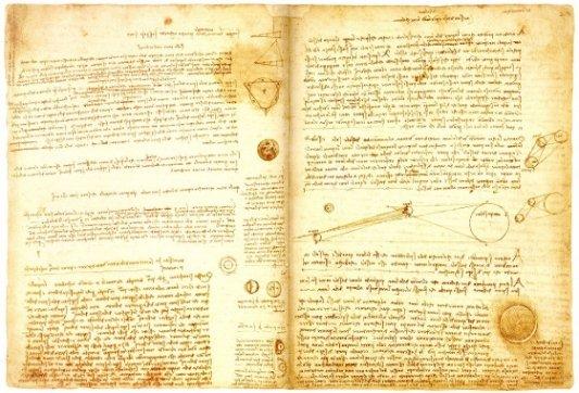 Página del Códex Leicester de Leonardo da Vinci.