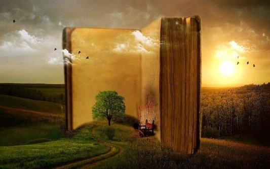 Imagen fantástica de un libro gigante en mitad del campo.