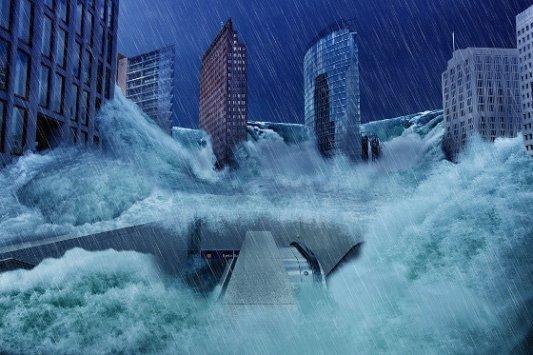 Simulación de la inundación de una gran ciudad.