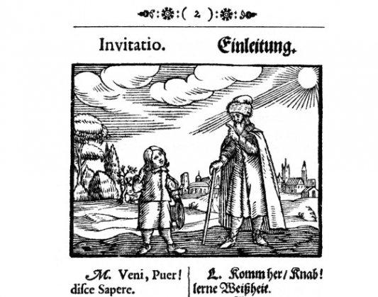 Ilustración interior del Orbis sensualium pictus.