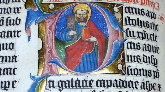 Ilustración iluminada medieval.