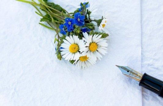 Flores y una pluma estilográfica.