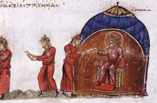 Fragmento de una ilustración que muestra la comunicación entre el califa de Bagdad y el emperador de Bizancio.