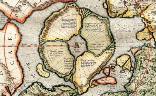 Mapa del Polo Norte por Mercator.