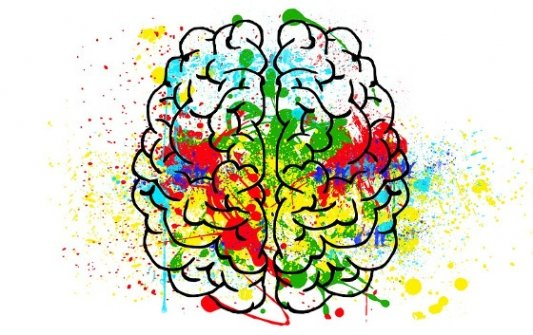 Cerebro pintado con un grafiti encima.