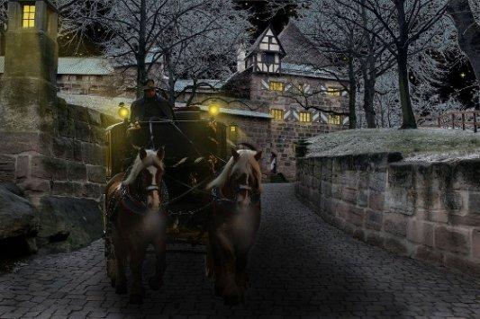 Carro de caballos por las calles de Transilvania.