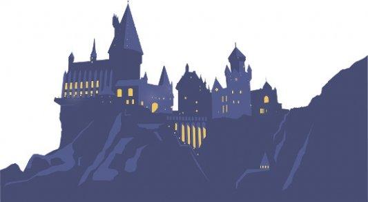 Ilustración del castillo de Hogwarts.