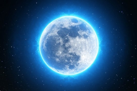 Imagen de la Luna con un brillo azul.