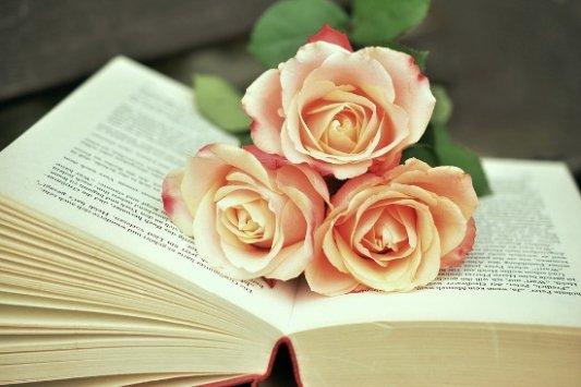 Libro con rosas.