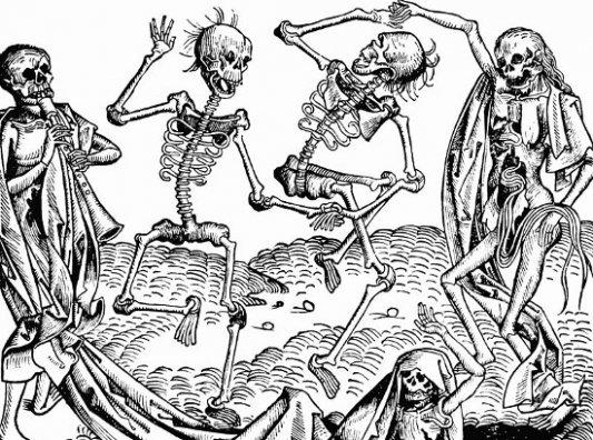Imagen de una Danza de la Muerte medieval.