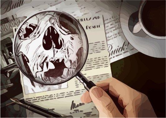 Lupa agrandando la ilustración de un cadáver.