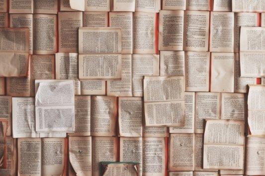 Varios libros abiertos y dispersos