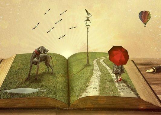 Ilustración perro sobre libro